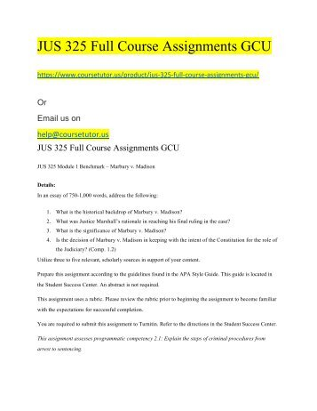 JUS 325 Full Course Assignments GCU