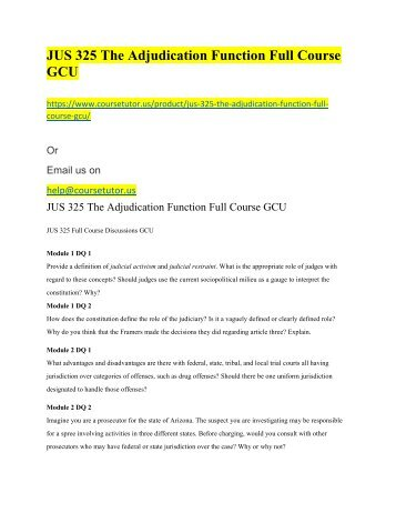 JUS 325 The Adjudication Function Full Course GCU