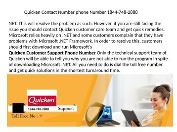 Quicken software support Phone Number  1844-748-2888