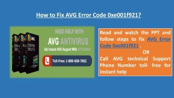 Steps to Fix AVG Error Code 0xe001f921 Call 1-800-658-7602