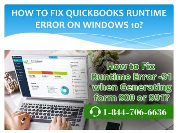 Contact 1844-706-6636 for QuickBooks Runtime Error on Windows 10