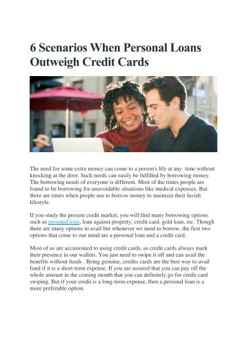 6 Scenarios When Personal Loans Outweigh Credit Cards