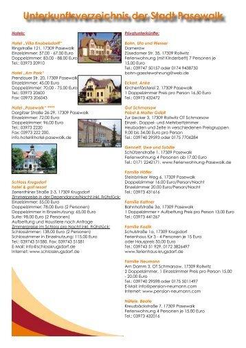 Unterkunftsverzeichnis der Stadt Pasewalk