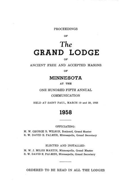 1958 Grand Lodge of Minnesota Annual Communication Proceedings