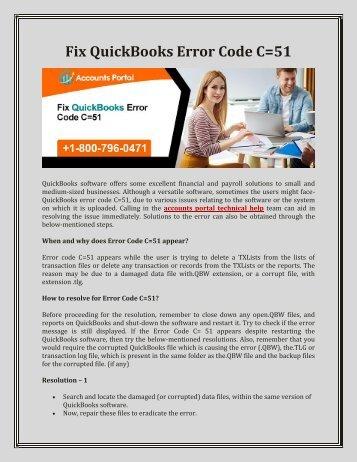 1-800-796-0471 How to Fix QuickBooks Error Code C=51, Support & Help