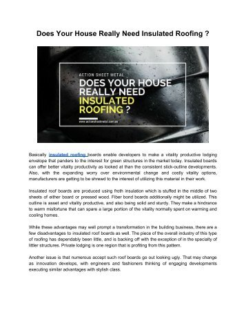 Why Every House Should Have Insulated Roofing?
