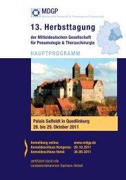 13. Herbsttagung der Mitteldeutschen Gesellschaft für ... - MDGP