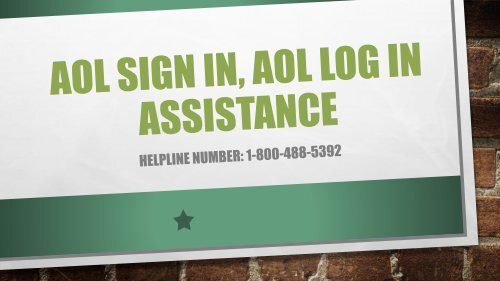 1-800-488-5392 AOL Sign In, AOL Log In Assistance