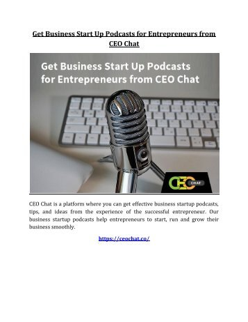 Get Business Start Up Podcasts for Entrepreneurs from CEO Chat