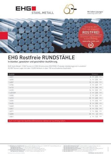 EHG Produktblatt Rostfrei Rundstahl DE 2018