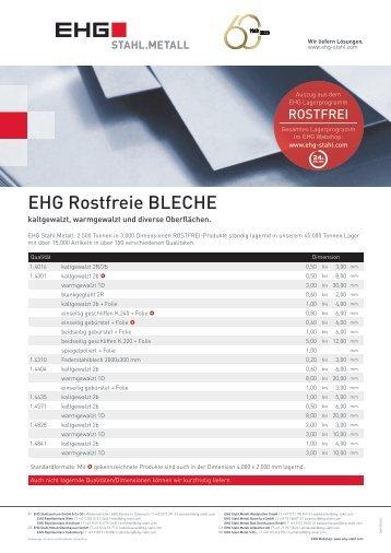 EHG Produktblatt Rostfrei Bleche DE 2018