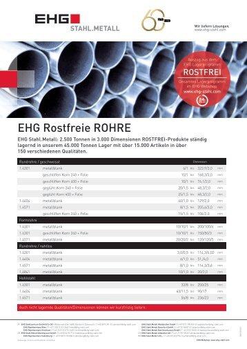 EHG Produktblatt Rostfrei Rohre DE 2018