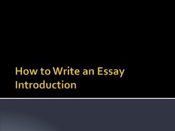 How to write an essay introduction?