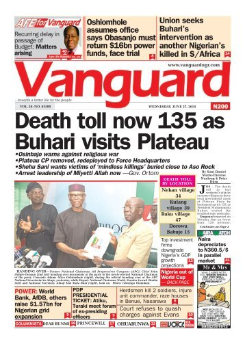 27062018 - Death toll now 135 as Buhari visits Plateau