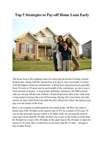 Top 5 Strategies to Pay-off Home Loan Early