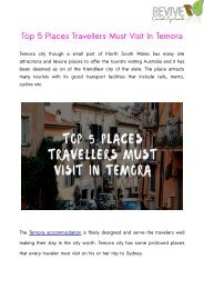 Top 5 Places Travellers Must Visit In Temora