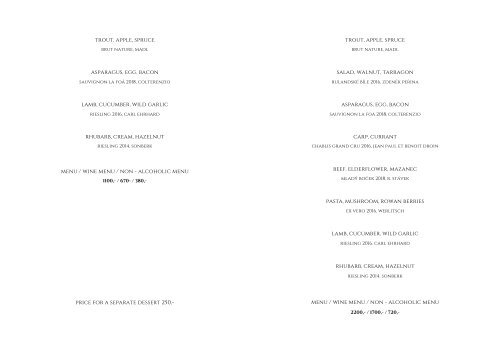 MENU Restaurant ESSENS