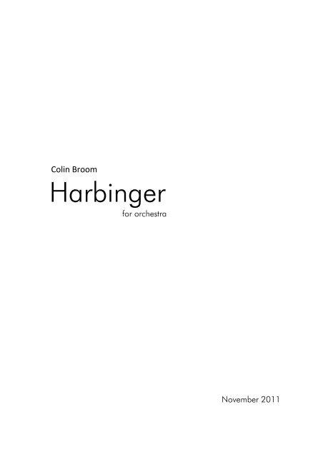Colin Broom - Harbinger, for Orchestra