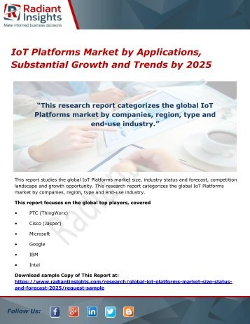 IoT Platforms Market by Applications, Substantial Growth and Trends by 2025