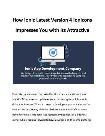 How Ionic Latest Version 4 Ionicons Impresses You with Its Attractive Icons