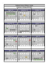 _2018-2019 Calendar & Closings Peabody Terrace Children's Center