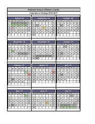 _2018-2019 Calendar & Closings Peabody Terrace Children's Center