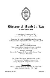 Advance Reports of the Convention of the Diocese of Fond du Lac