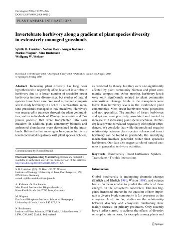 Invertebrate herbivory along a gradient of plant species diversity in ...