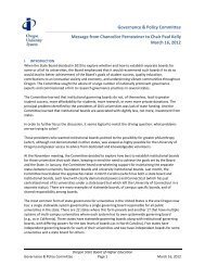 Governance & Policy Committee Message from Chancellor - Oregon ...