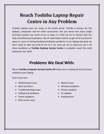 Reach Toshiba Laptop Repair Centre in Any Problem