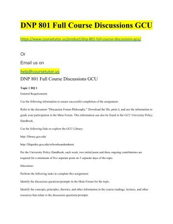DNP 801 Full Course Discussions GCU