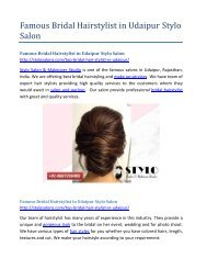 Famous Bridal Hairstylist in Udaipur Stylo Saoln