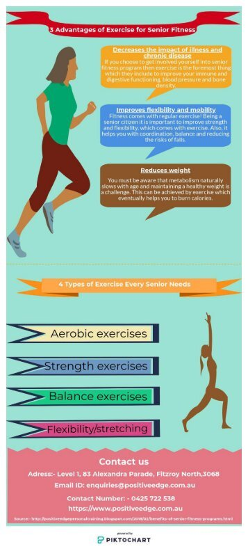 3 Advantages of exercise for Senior Fitness - Infographic