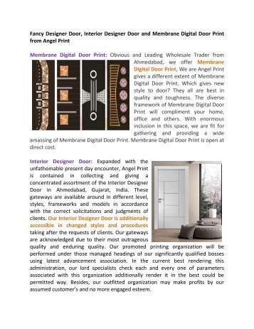 Fancy Designer Door, Interior Designer Door and Membrane Digital Door Print from Angel Print