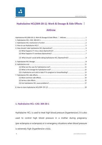 Hydralazine HCL(304-20-1): Work & Dosage & Side Effects | AASraw