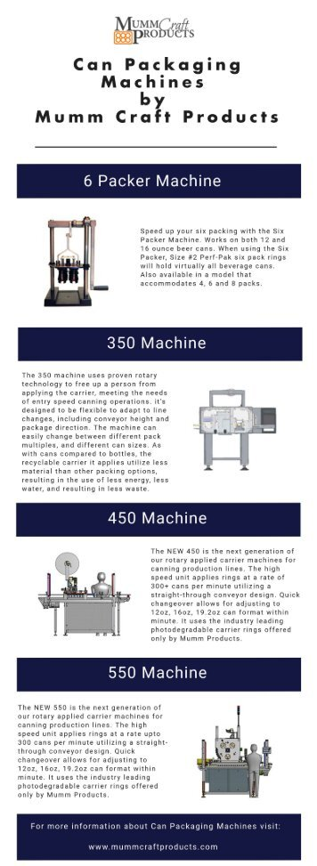 Can Packaging Machines by Mumm Craft Products