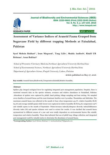Assessment of Variance Indices of Araneid Fauna Grasped from Sugarcane Field by different trapping Methods at Faisalabad, Pakistan