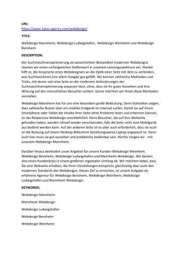Webdesign Mannheim, Webdesign Ludwigshafen,  Webdesign Weinheim und Webdesign Bensheim