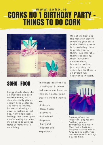 Corks No 1 Birthday Party - Things to do Cork