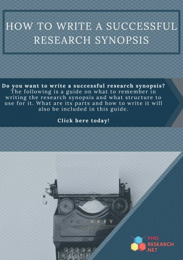Free PhD Synopsis Writing Sample