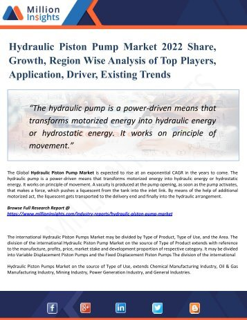 Hydraulic Piston Pump Market 2022 Share, Growth, Region Wise Analysis of Top Players, Application, Driver, Existing Trends
