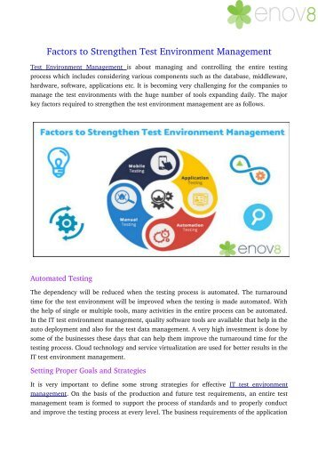 Factors to Strengthen Test Environment Management