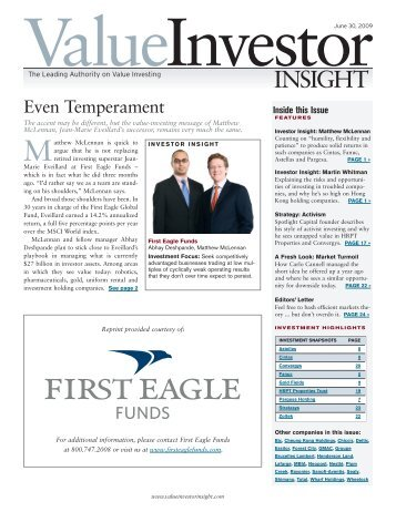 Inside this Issue - First Eagle Funds