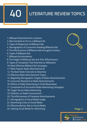 Literature Review Advertising Topics