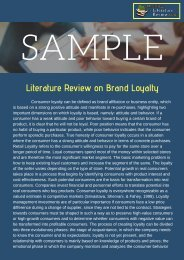 Brand Loyalty Literature Review Sample