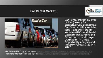 Why Car Rental Market is set to double its business in the coming years?