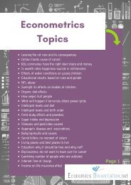 Topics for Econometrics Research Papers