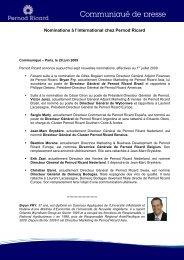 2009 06 29 Nominations à l'international chez Pernod Ricard FR
