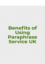 Benefits of Using Paraphrase Service UK